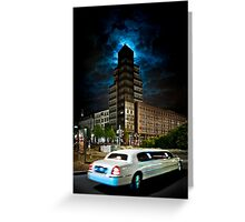 The stretch limo and the moon Greeting Card