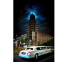 The stretch limo and the moon Photographic Print