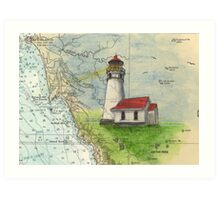 Cape Blanco OR Lighthouse Nautical Map Cathy Peek Art Print
