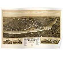 Panoramic Maps Chippewa-Falls Wisonsin sic county-seat of Chippewa County 1907 Poster
