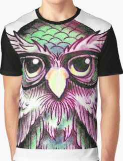 Funny Colorful Tattoo Wise Owl With Glasses  Graphic T-Shirt