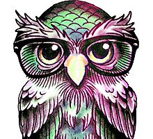 Funny Colorful Tattoo Wise Owl With Glasses  Photographic Print