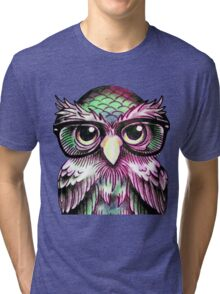 Funny Colorful Tattoo Wise Owl With Glasses  Tri-blend T-Shirt