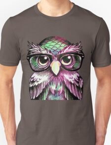 Funny Colorful Tattoo Wise Owl With Glasses  Unisex T-Shirt