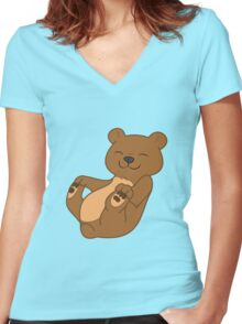 Brown Bear Cub Women's Fitted V-Neck T-Shirt