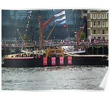 Belfry going past Sailing barge Thistle Poster