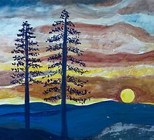 Sunset with Pine Trees by lorikonkle