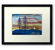 Sunset with Pine Trees Framed Print