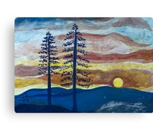 Sunset with Pine Trees Canvas Print
