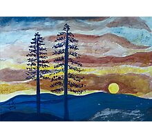 Sunset with Pine Trees Photographic Print