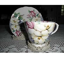 Tea Cup With Flowers Photographic Print