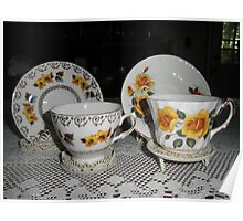 tea Cups With Pretty yellow Flowers On Them Poster