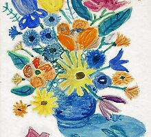 Mixed Flowers in Blue Bowl by lorikonkle