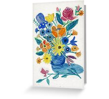 Mixed Flowers in Blue Bowl Greeting Card