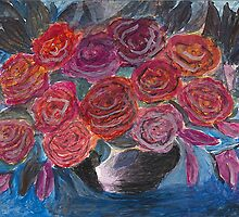 Red Rose in Black Bowl by lorikonkle