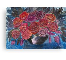 Red Rose in Black Bowl Canvas Print