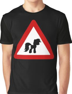 Pony Traffic Sign - Triangular Graphic T-Shirt