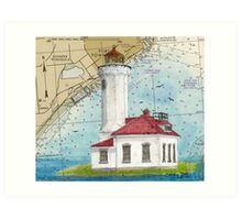 Pt Wilson Lighthouse WA Nautical Chart Cathy Peek Art Print