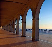 Arcade along the beach of Oostende - Belgium by Arie Koene