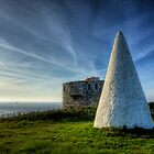 Navigation marker &amp; Fort Tourgis on Alderney by NeilAlderney