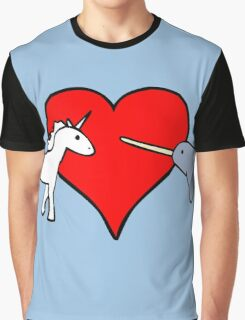 Unicorn Loves Narwhal Graphic T-Shirt
