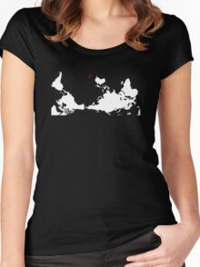 Upside Down World Map New Zealand Women's Fitted Scoop T-Shirt