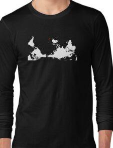 Upside Down World Map New Zealand Long Sleeve T-Shirt