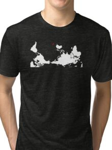 Upside Down World Map New Zealand Tri-blend T-Shirt