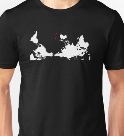 Upside Down World Map New Zealand Unisex T-Shirt