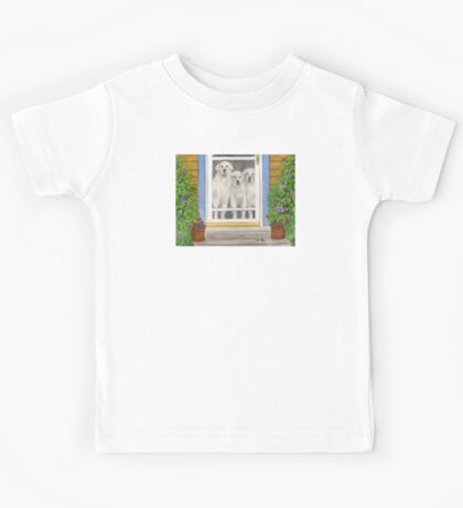 Great Pyrenees Dogs Porch Cathy Peek Animals Kids Tee