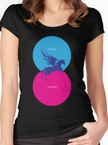 Pegacorn Venn Diagram (Pegasus + Unicorn) Women's Fitted Scoop T-Shirt
