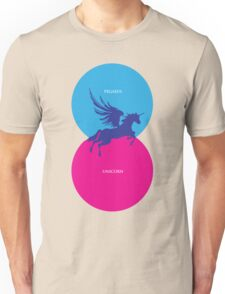 Pegacorn Venn Diagram (Pegasus + Unicorn) Unisex T-Shirt