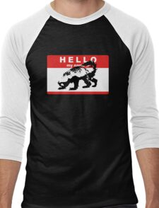 Hello My Name Is Honey Badger sticker Men's Baseball ¾ T-Shirt