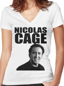 Nicolas Cage Women's Fitted V-Neck T-Shirt