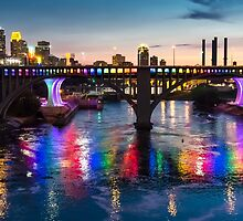 Minneapolis Rainbow Bridge, June 26 2015  by Jim  Hughes