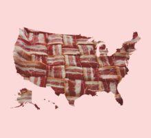 USA - American Bacon Map - Woven Strips Baby Tee