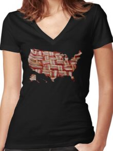 USA - American Bacon Map - Woven Strips Women's Fitted V-Neck T-Shirt