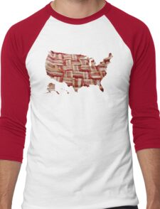 USA - American Bacon Map - Woven Strips Men's Baseball ¾ T-Shirt