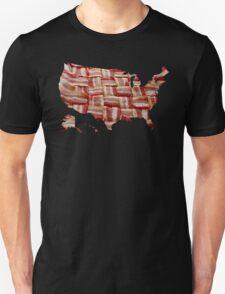 USA - American Bacon Map - Woven Strips T-Shirt
