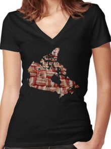 Canada - Canadian Bacon Map - Woven Strips Women's Fitted V-Neck T-Shirt