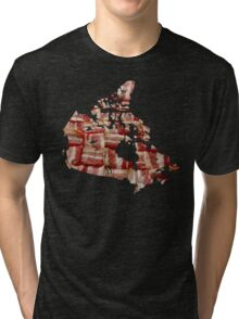 Canada - Canadian Bacon Map - Woven Strips Tri-blend T-Shirt
