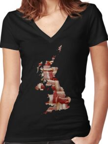 United Kingdom - British Bacon Map - Woven Strips Women's Fitted V-Neck T-Shirt