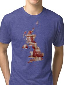 United Kingdom - British Bacon Map - Woven Strips Tri-blend T-Shirt