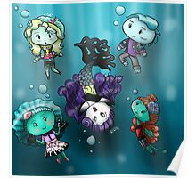 Chibi Water Type Monsters Poster
