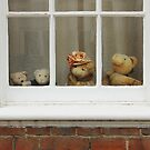 Family of teddy bears on the window. by kirilart