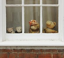 Family of teddy bears on the window. by kirilart