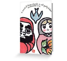 A Cord of Three Strands (Daruma Doll series) Greeting Card
