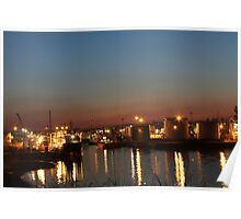 Aberdeen Harbour At Night Poster