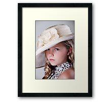 Portrait of beautiful girl in hat Framed Print
