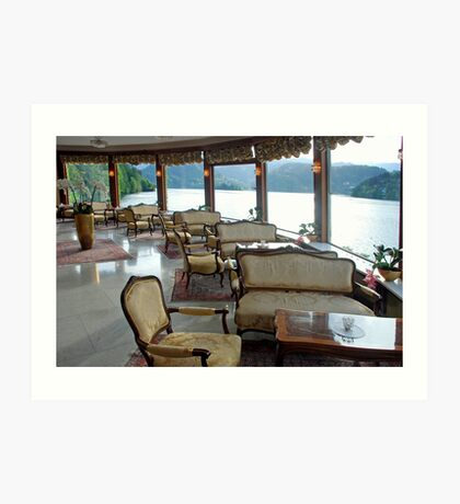 A view from the lounge on lake Bled - Slovenia Art Print